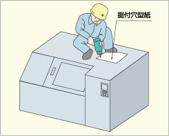 機械本体天井部に付属の「据付穴型紙」を敷き、形式に応じた穴(4箇所)を開けて下さい。(形式毎に穴の位置が記載されています)